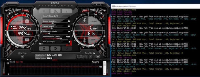 Display Claymore Miner Hashrate and MSI After Burner GPU Settings