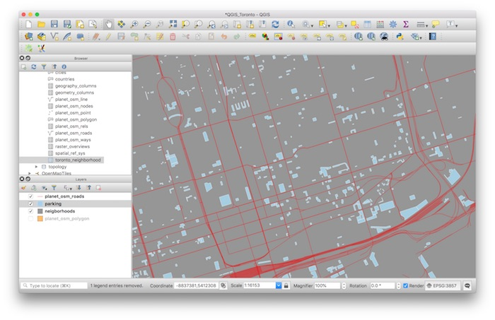 PostGIS QGIS Display Neighborhood Polygons