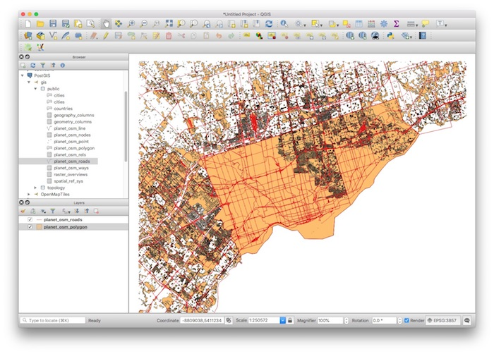 PostGIS QGIS Polygons and Roads